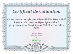 certificat Udemy UC-2DLSWOU1