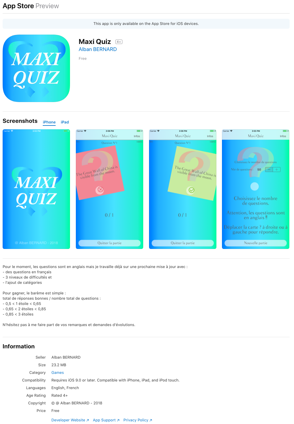 MaxiQuiz - AppStore